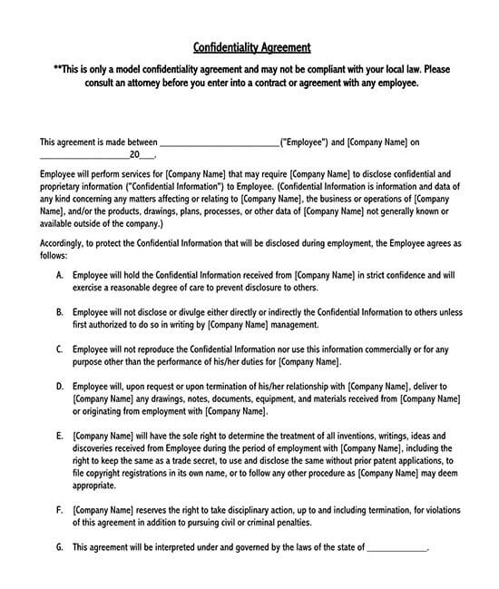 salary confidentiality agreement template