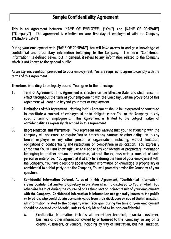 employee confidentiality agreement policy