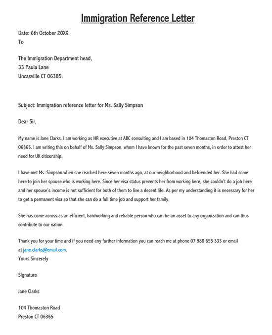 reference letter for immigration marriage 01