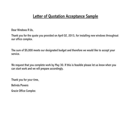 price quotation letter format in word