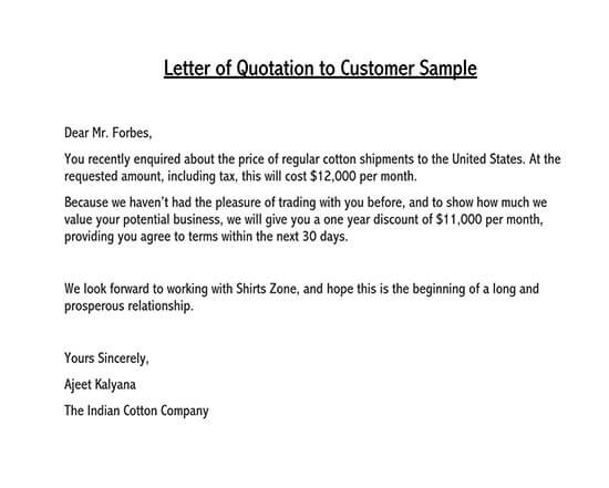 sample price proposal and quotation letter pdf