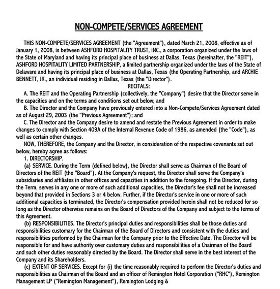 vendor non compete agreement template 01