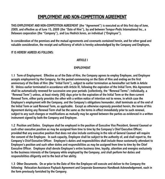 personal trainer non compete agreement template 01
