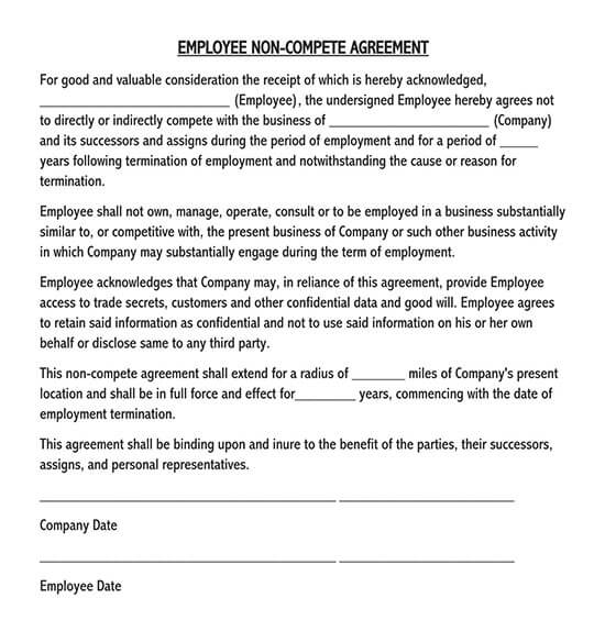 employee non compete agreement template 02