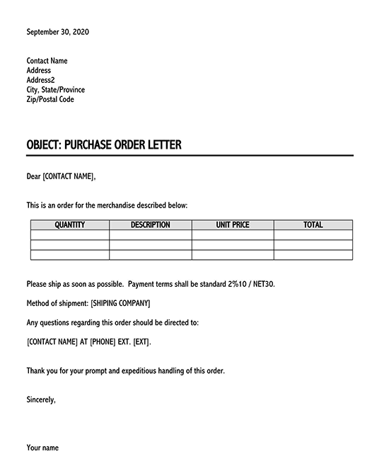sample business letter for placing an order 01