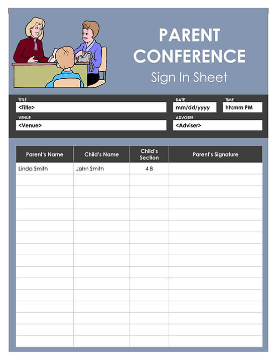 Parent Conference Sign In Sheet Template