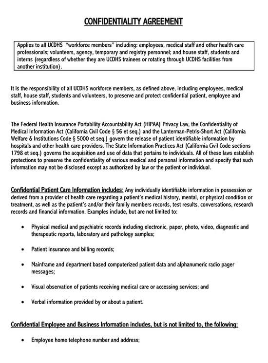 free confidentiality agreement template