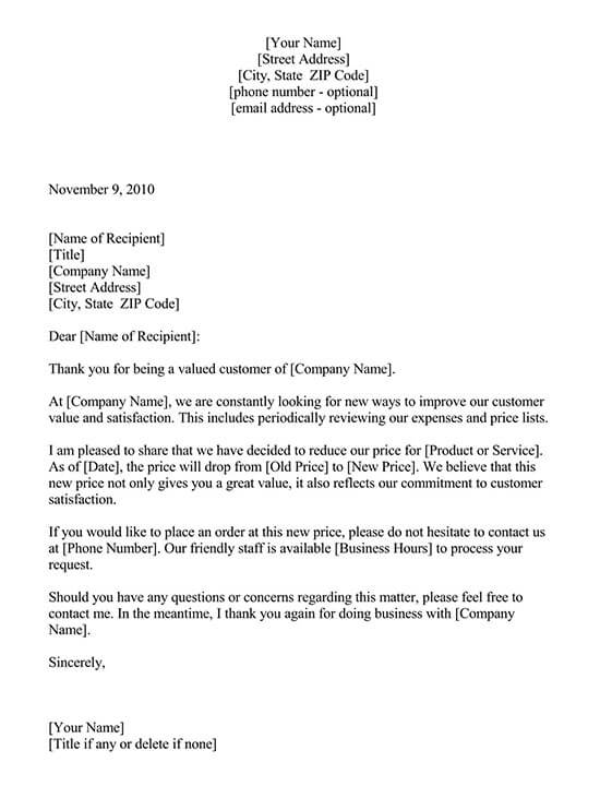 sample letter for quotation sending