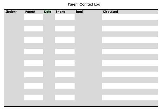 Printable Parent Contact Log Sheet 01