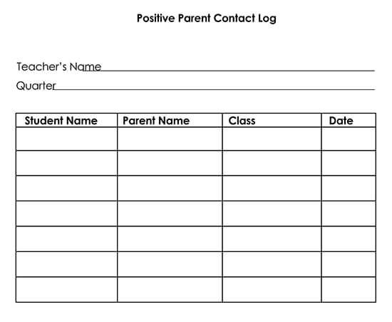 Printable Parent Contact Log Sheet 06