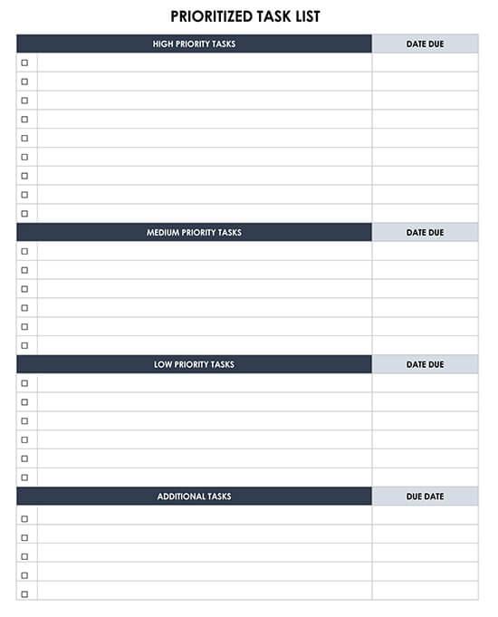 Prioritized Task List Word