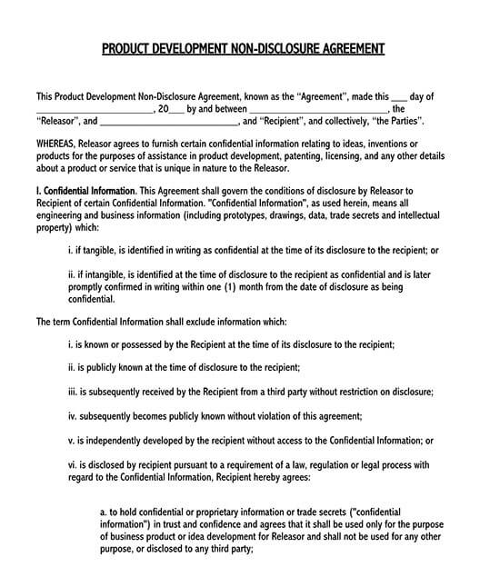 non disclosure agreement format for vendors 01