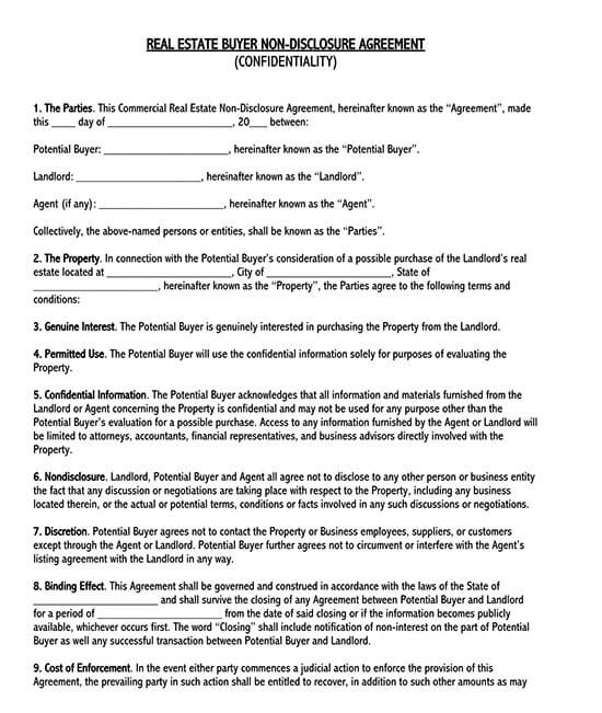 non disclosure agreement for business idea template 01