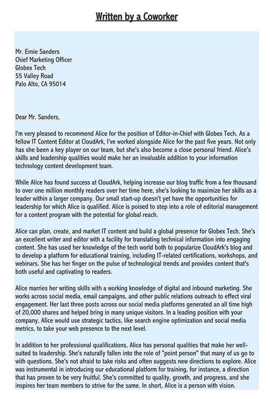 recommendation letter to retain employee