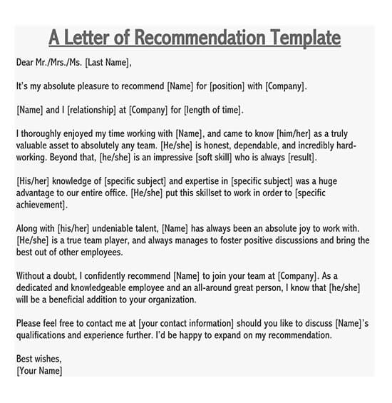 recommendation letter for employee from manager doc 01