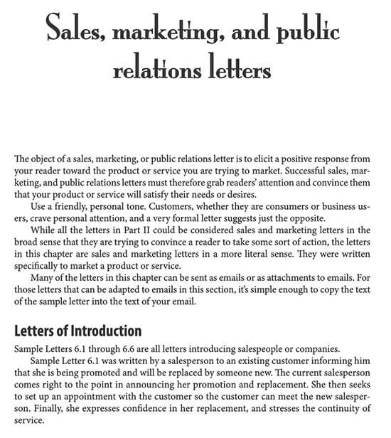 sales letter template promoting a service