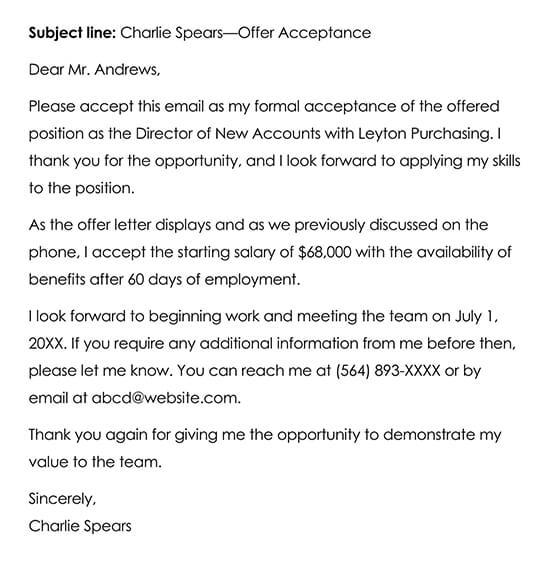 Sample Job Offer Acceptance Email