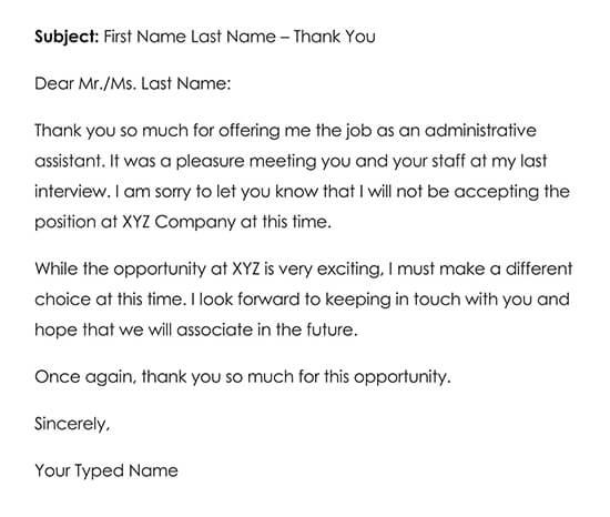 Sample Job Offer Thank You Letter 03