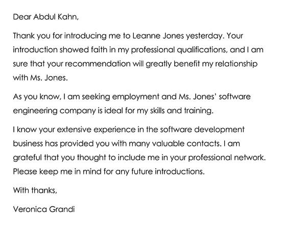 Sample Letter to Thanking a Networking Contact