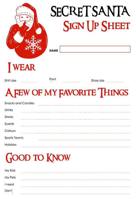 Secret Santa Sign Up Sheet Template