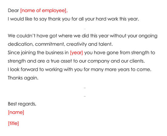 Thank You Letter Expressing Employee Recognition