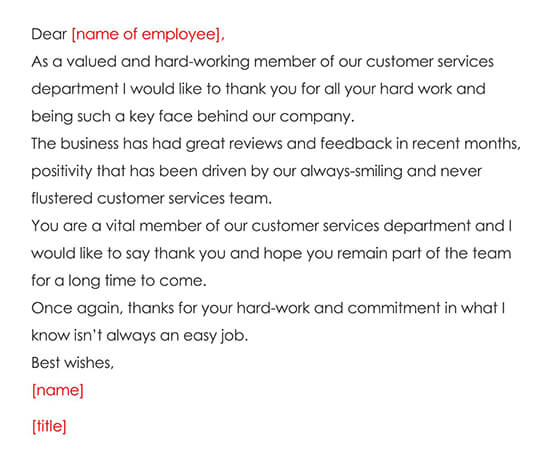 Thank You Letter Recognizing Excellent Customer Service