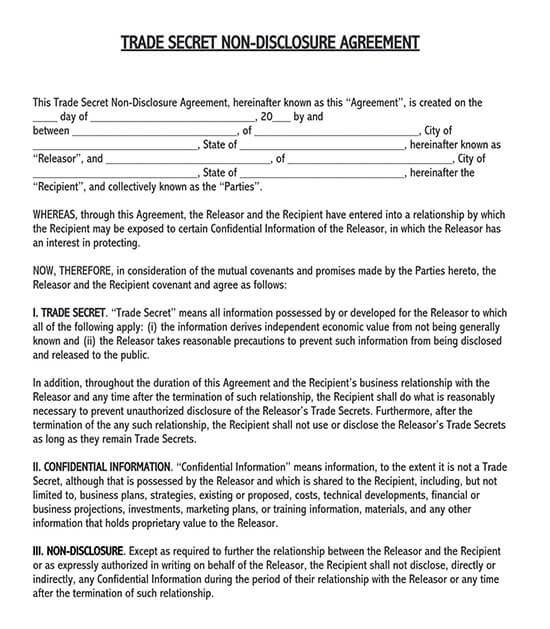 non disclosure agreement example 02