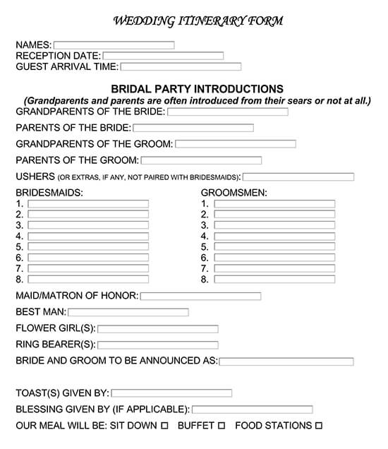 Wedding Itinerary Form Template