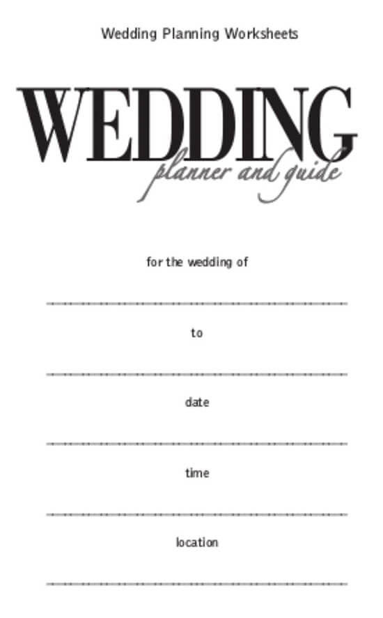 Wedding Worksheet Itinerary Template