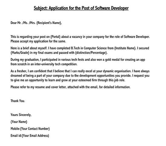 application letter for any position format