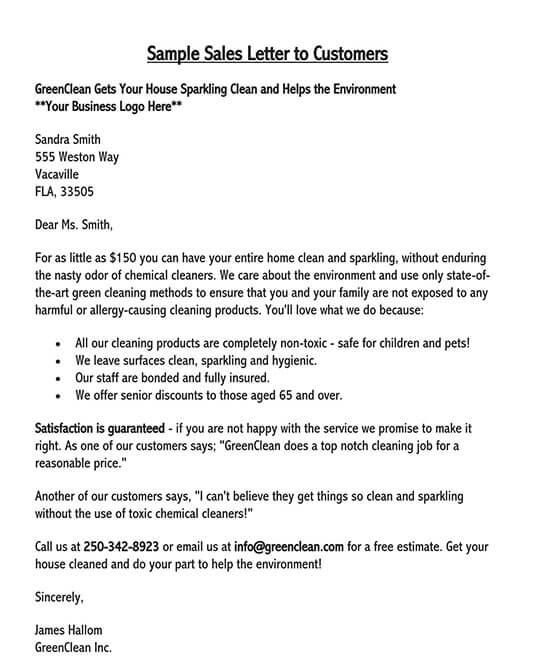 sale letter format in word