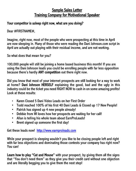 sales letter template promoting a service 01