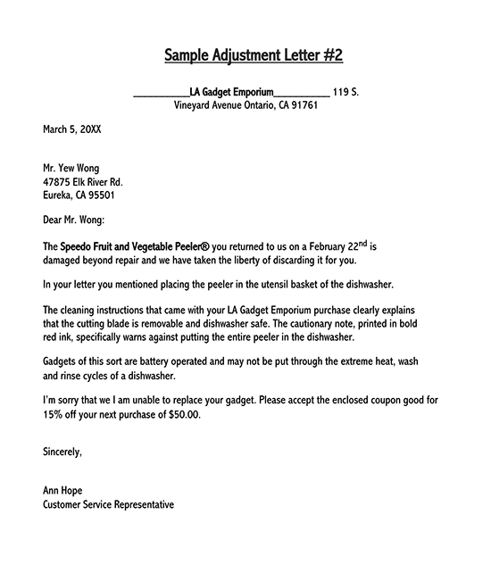 how to write adjustment letter