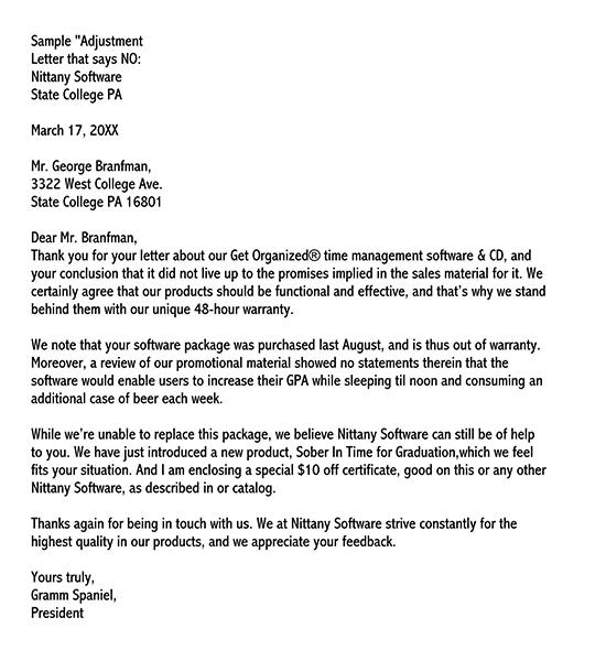 adjustment letter for wrong delivery