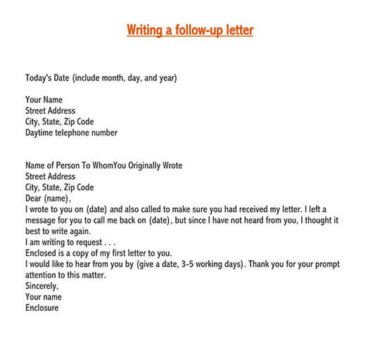 follow-up letter sample after no response