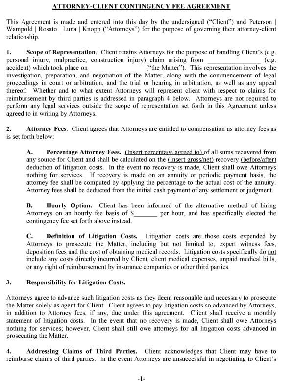 Attorney Contingency Fee Agreement 02