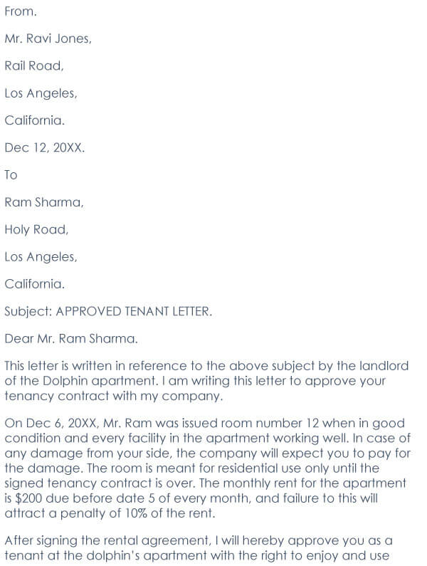 Approved tenant letter 09