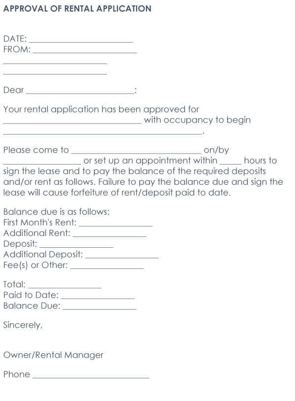 Approved Tenant Letter Sample 04