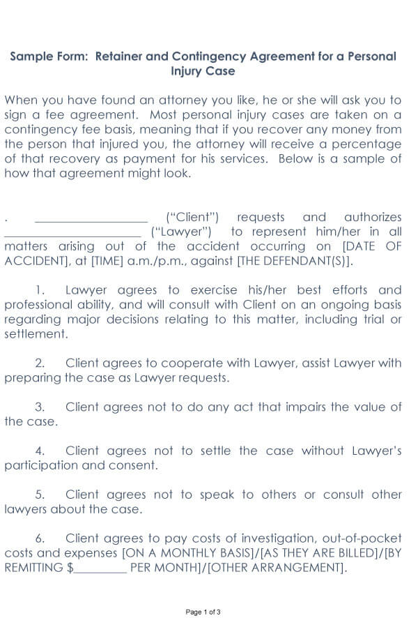 Attorney Contingency Fee Agreement Sample 05