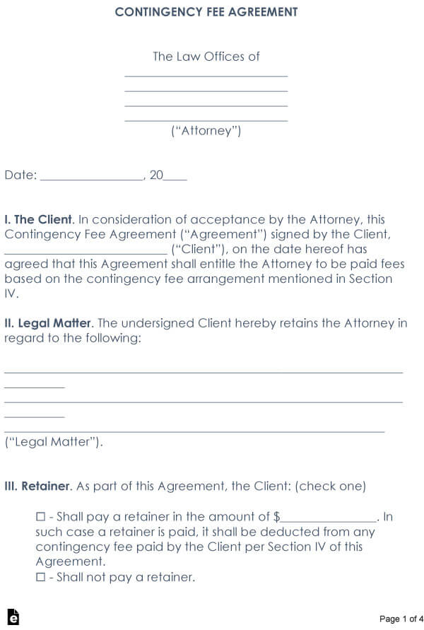 Attorney Contingency Fee Agreement Sample 06