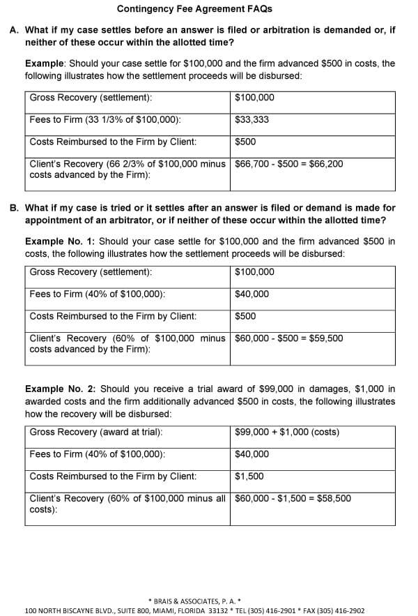 Attorney Contingency Fee Agreement Sample 08