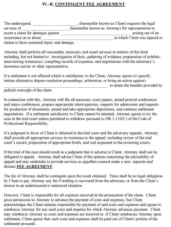 Attorney Contingency Fee Agreement Sample 09