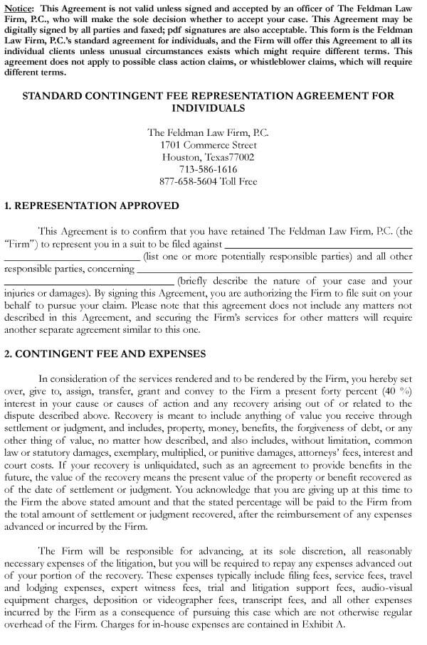 Attorney Contingency Fee Agreement Sample 13