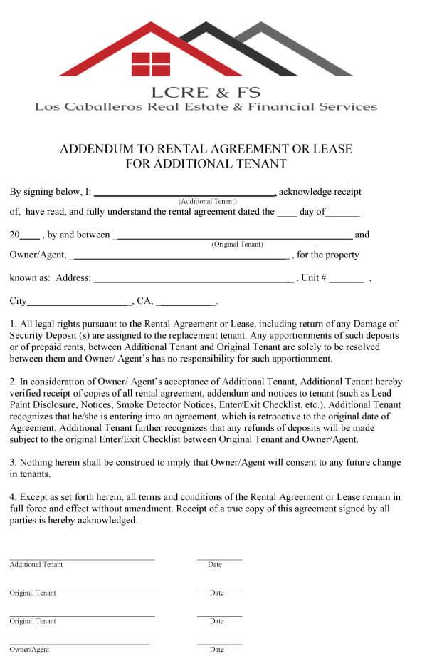 Amendment To Add Tenant Sample 12