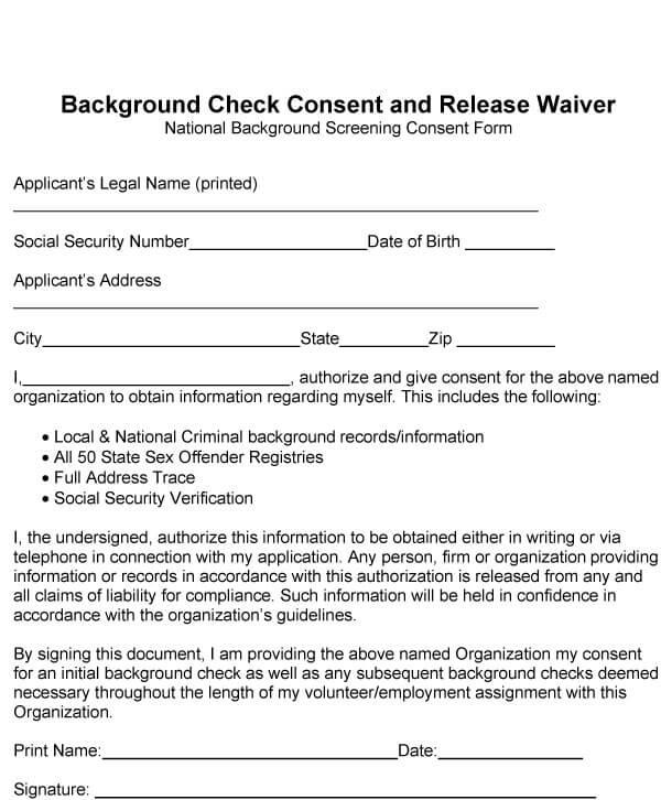 Background Check Form Sample 01