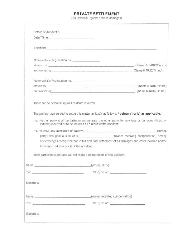 Car Accident Release Of Liability Form Sample 02