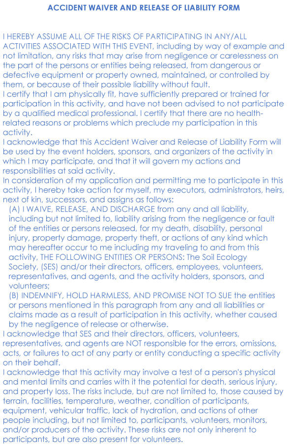 Car Accident Release Of Liability Form Sample 03