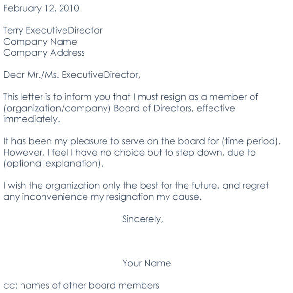 Board Resignation Letter 06