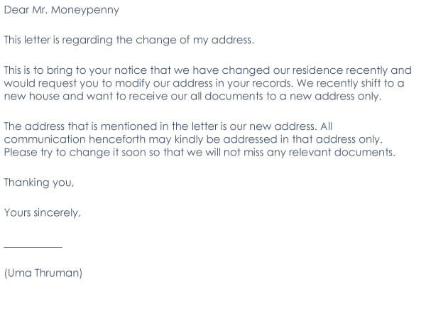 Change Of Address Request Letter Sample 03