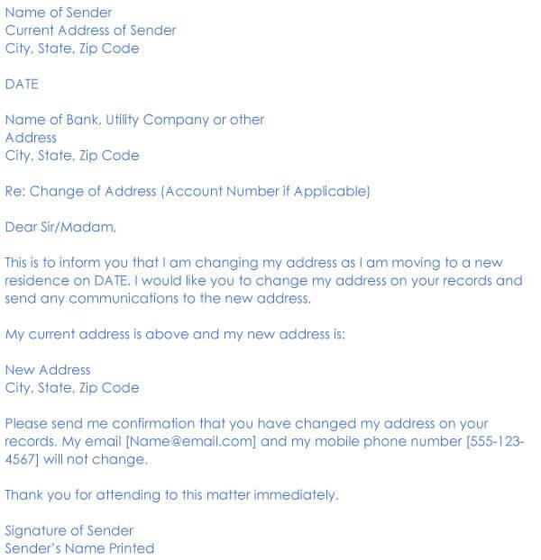 Change Of Address Request Letter Sample 05